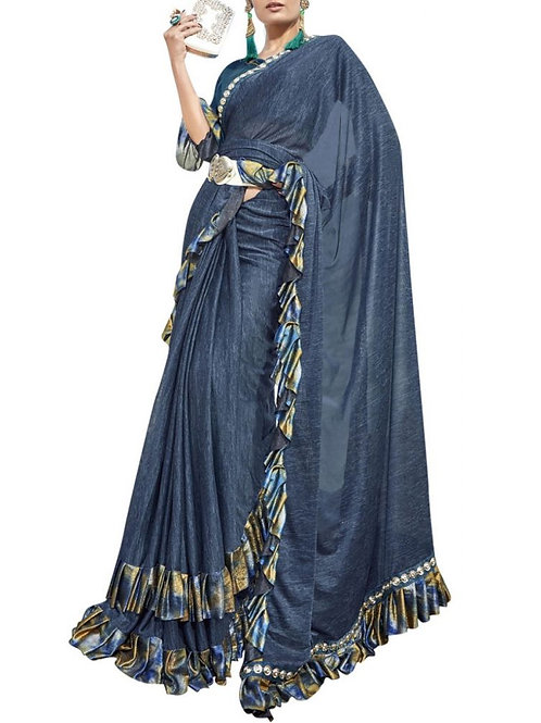 Navy Blue Color Lycra Saree For Cocktail Party