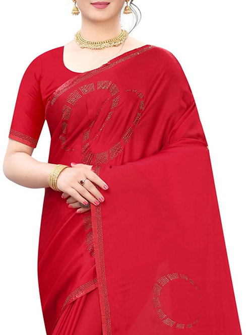 Divine Red Party Wear Saree