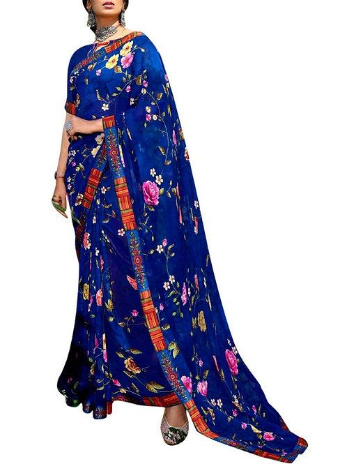 Astonishing Blue Fancy Party Wear Saree