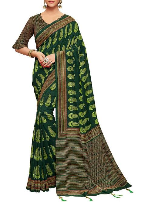 Engaging Dark Green Color New Model Sarees