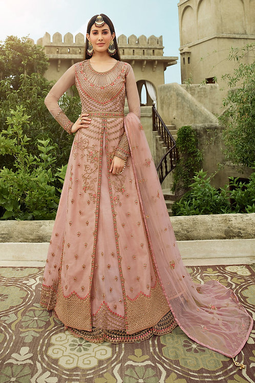 Party Wear Dusty Light Pink Net Designer Gown For Reception