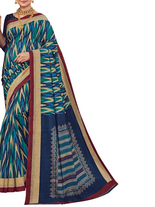 Fashionable Blue Printed Artsilk Saree