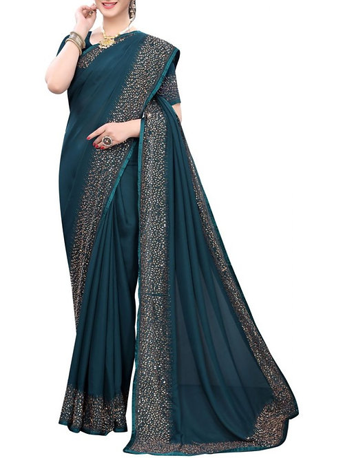 Chic Turquoise Beautiful Sarees Online
