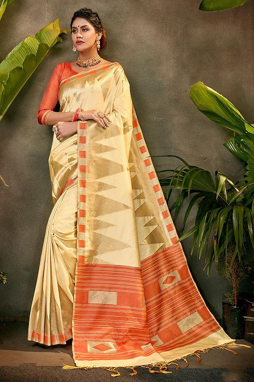 Cream Silk Designer Wedding Wear Saree