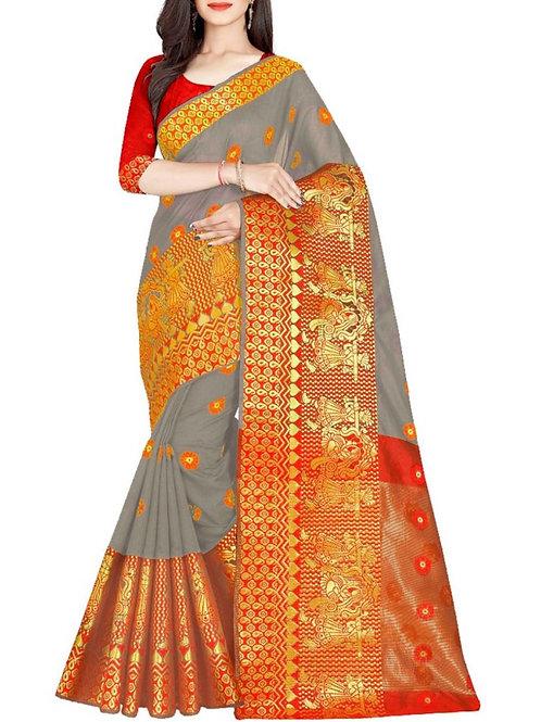 Fantastic Silver Saree Fashion