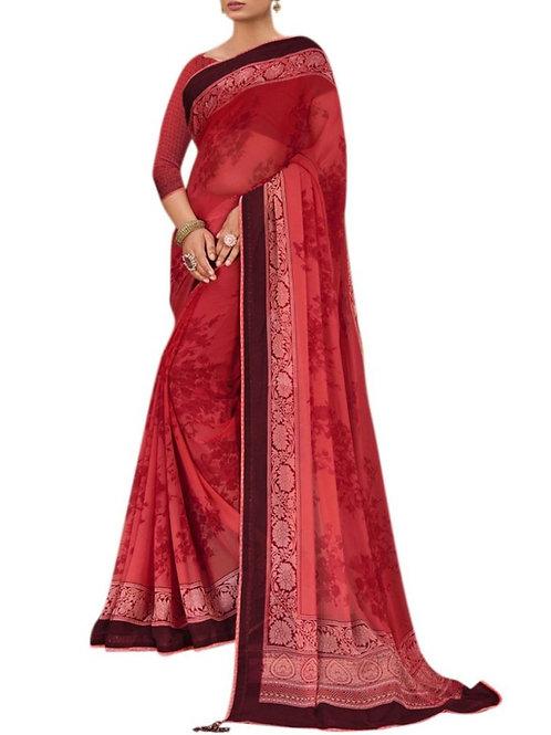 Brilliant Red Festival Wear Saree