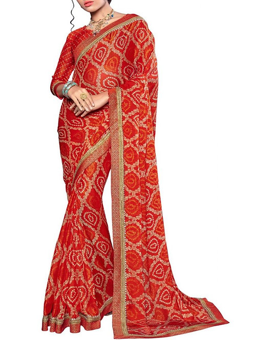 Overwhelming Red Color Exclusive Saree