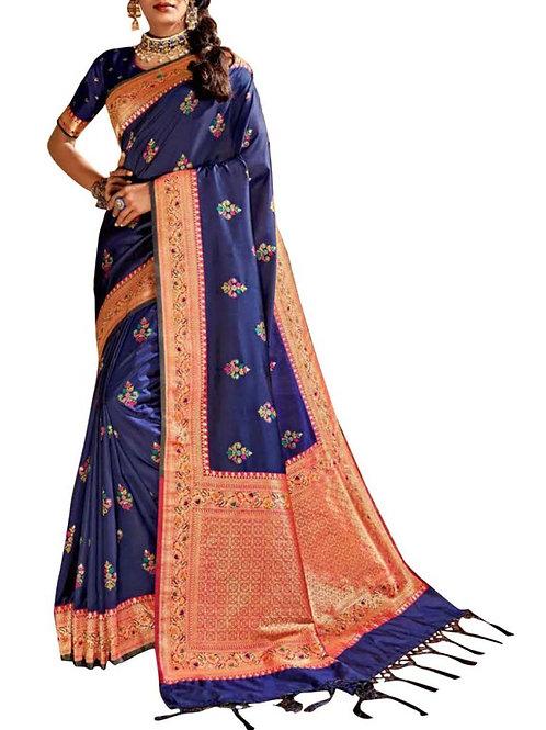 Magnetic Navy Blue Designer Silk Sarees