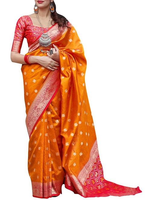 Astonishing Orange Banarasi Saree