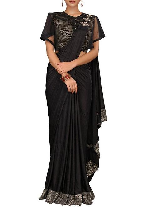 Latest Black Color Lycra Party Wear Saree