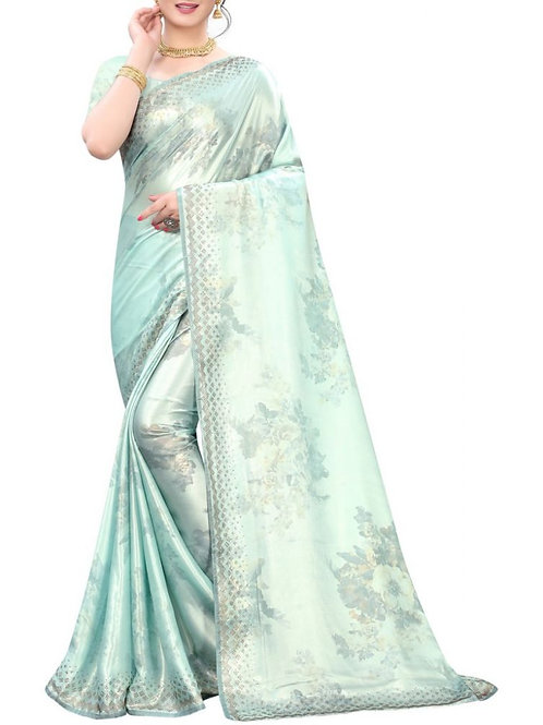 Extraordinary Sky Blue Party Wear Sarees With Price