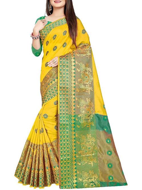 Glorious Yellow Functional Saree