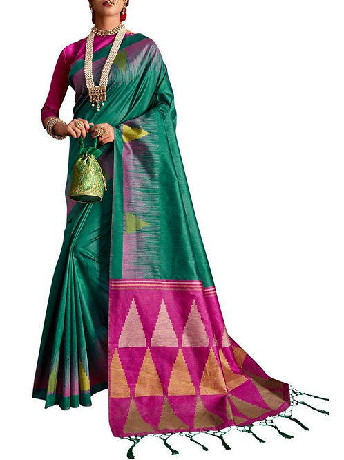 Attractive Teal Fancy Party Wear Saree