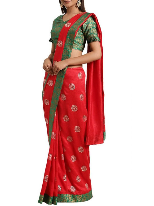 Impressive Red Traditional Party Wear Sarees