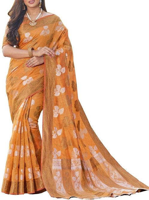 Dreamy Orange Color Beautiful Sarees