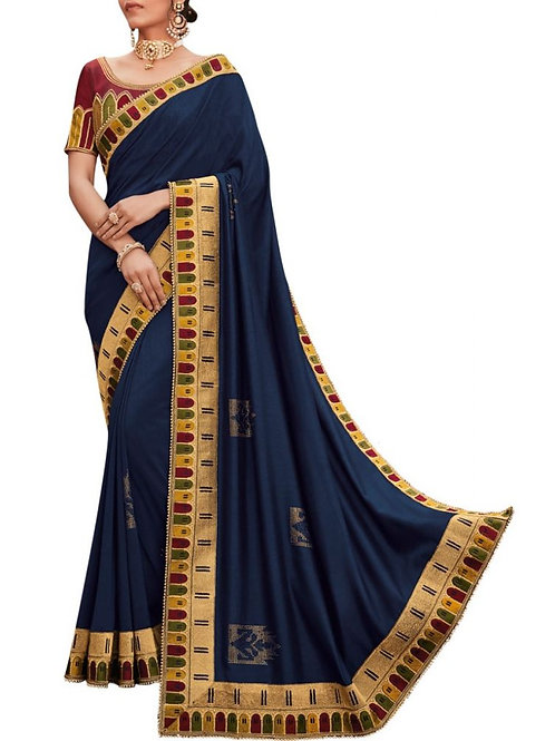 Fashionable Navy Blue New Party Wear Saree