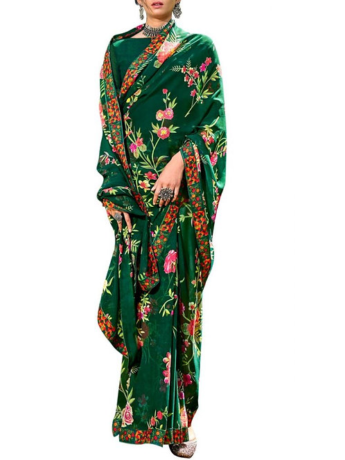 Alluring Green Beautiful Sarees Online