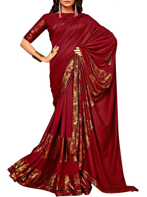Delightful Maroon Online Saree Shopping Sites