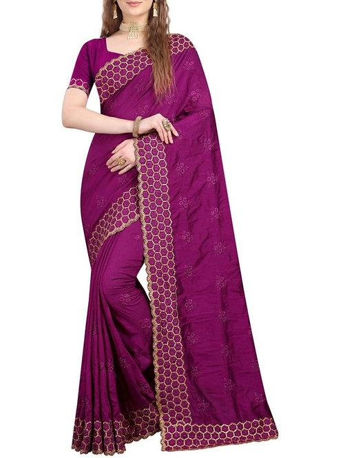 Mind Blowing Purple Saree Design