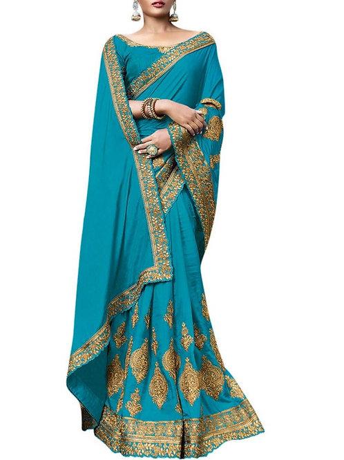 Overwhelming Sky Blue Best Designer Sarees