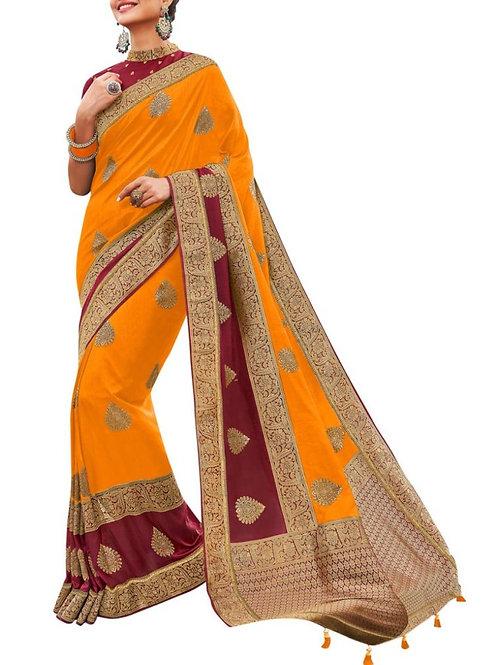 Agreeable Orange Saree Design