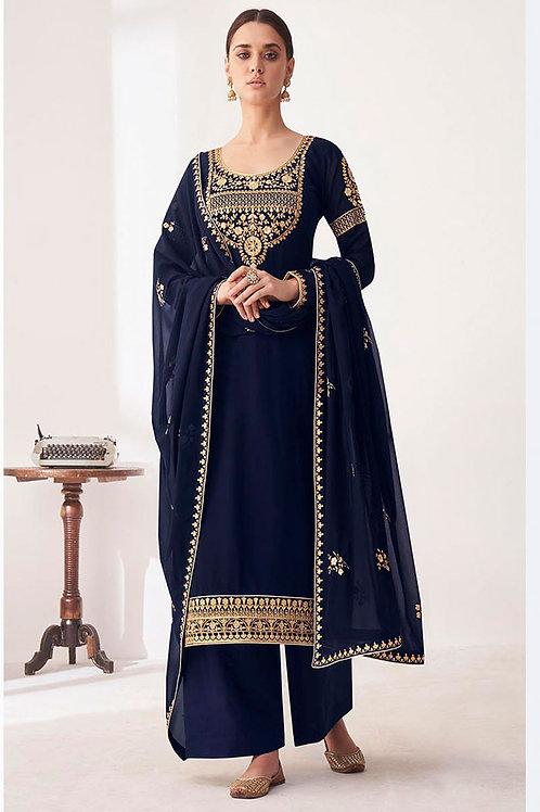 Latest Georgette Navy Blue Designer Salwar Suit For Women