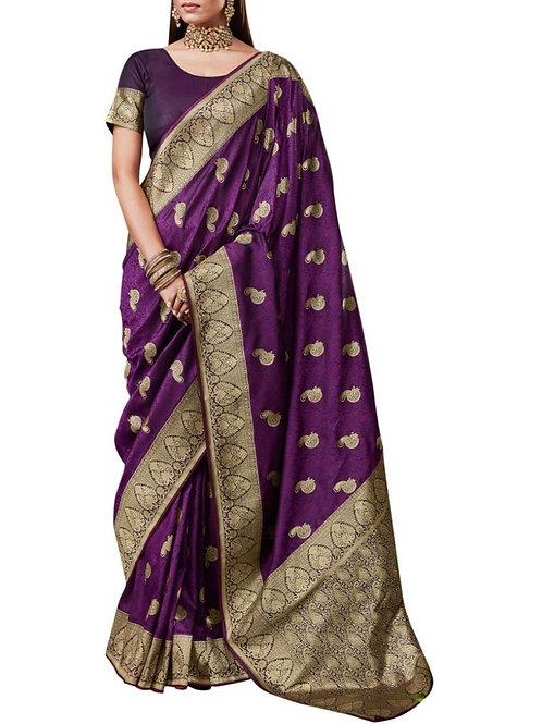 Excellent Purple Banarasi Saree
