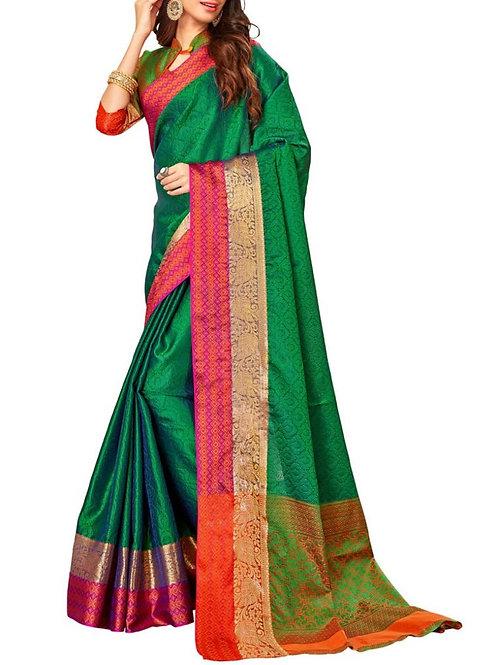 Breathtaking Green Color Bridal Silk Sarees