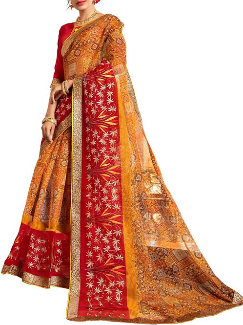 Fantastic Yellow And Red Color Saree Purchase