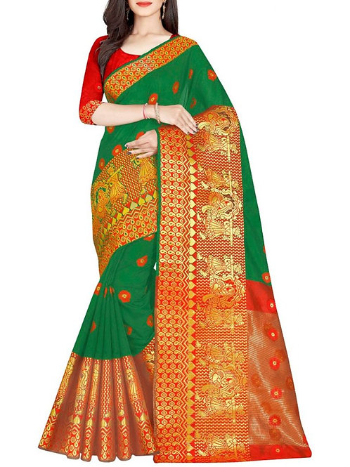 Bravery Green Beautiful Saree