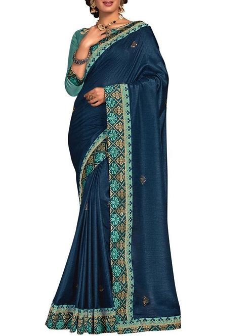 Beautiful Blue Lehenga Style Saree