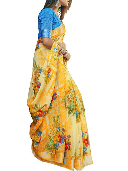 Glorious Yellow Color Best Sarees Online