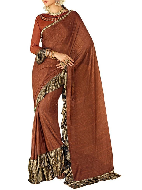 Beautiful Brown Color Saree Purchase