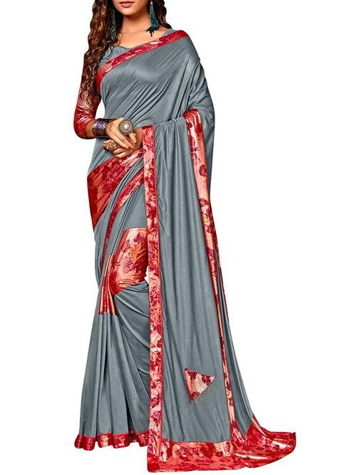 Alluring Grey Rajasthani Saree