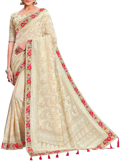 Overwhelming Off White Saree Dreams