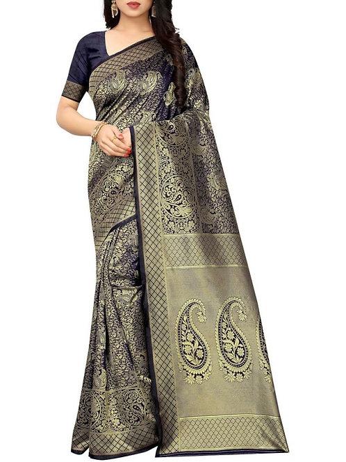 Dashing Navy Blue New Fashion Saree
