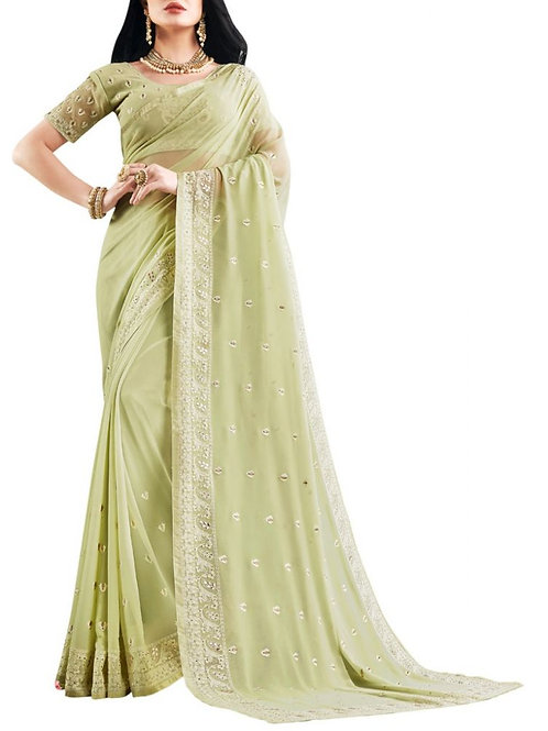 Presentable Pista Sarees Online Shopping