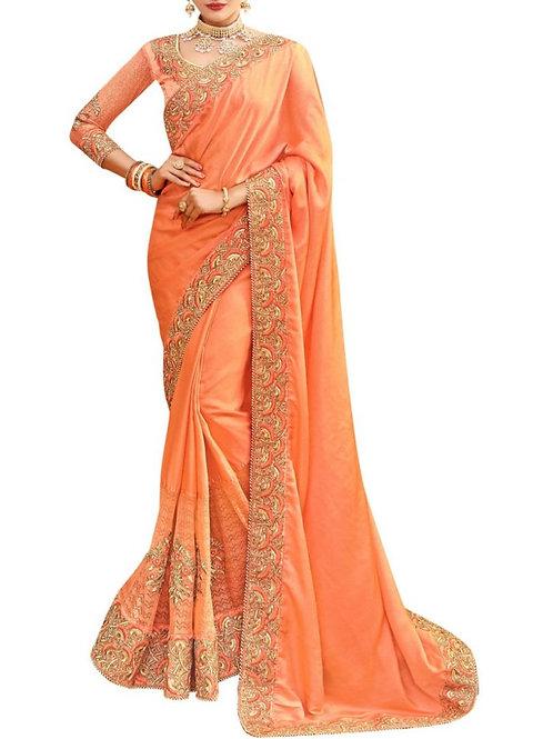 Audacious Orange Best Designer Sarees