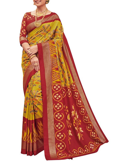 Fashionable Yellow New Model Silk Sarees