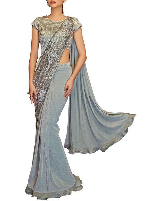 Design Grey Color Lycra Saree