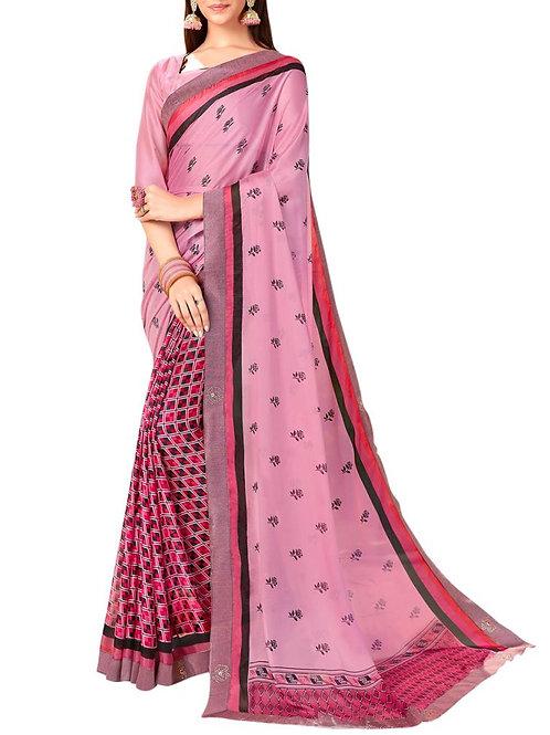 Adorable Pink Color Latest Saree Design