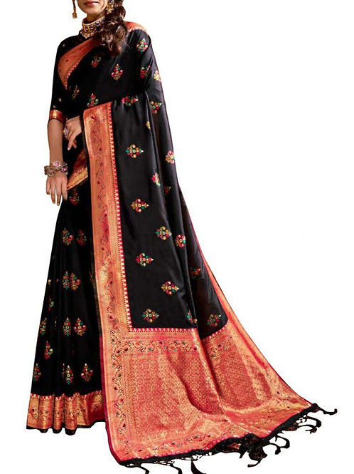 Inviting Black Fancy Party Wear Saree