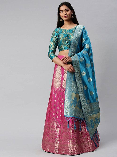 Heavy Banarasi Silk Nqavy Blue Color Lehenga Choli