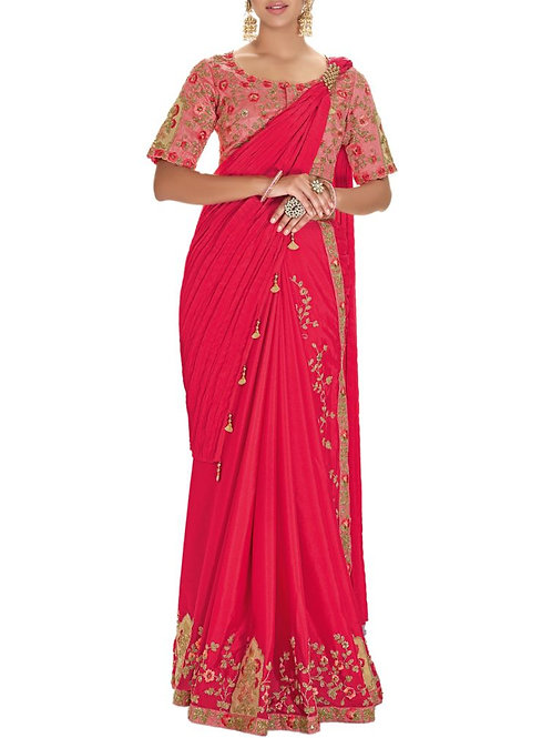 Delight Pink Color Ruffle Saree