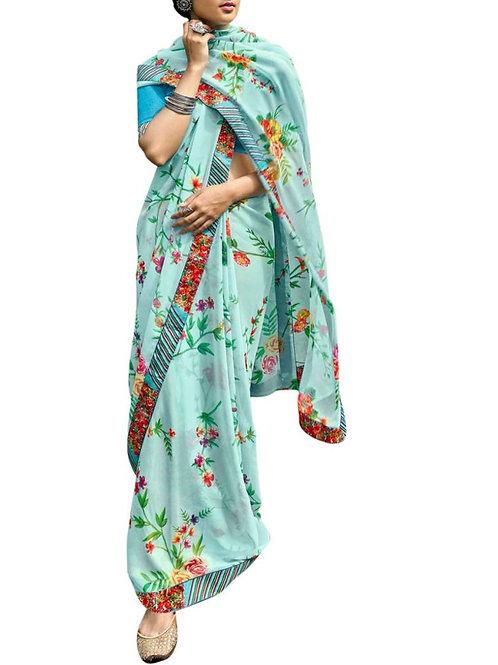 Captivating Sky Blue Latest Saree Trends