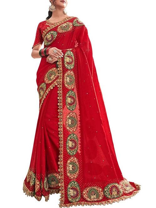 Blissful Red Designer Satin Sarees