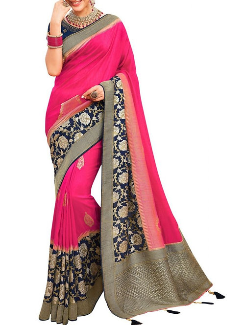 Captivating Pink Simple Saree Online Shopping