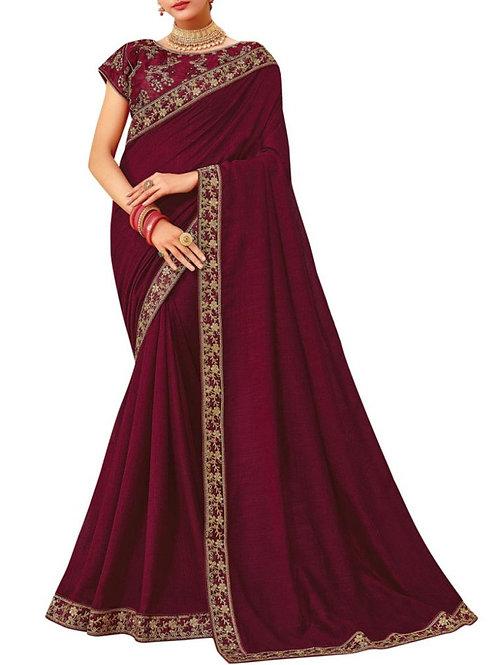 Marvelous Wine Silk Saree Online