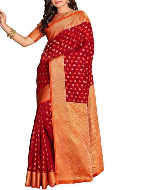 Graceful Maroon Color Designer Sarees Online Shopping India