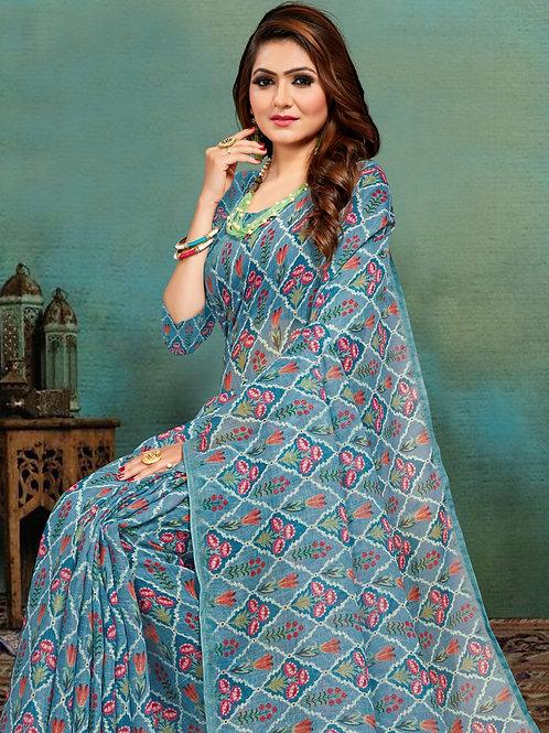 Blue Colored Banarasi Silk Saree With Matching Blouse.